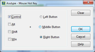 The Mouse Hotkey dialog box